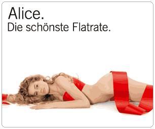 Banner: Alice. Die schönste Flatrate. Angeboten von einem nuttigen, fickbereiten Stück Fleisch in weit gehender Enthüllung