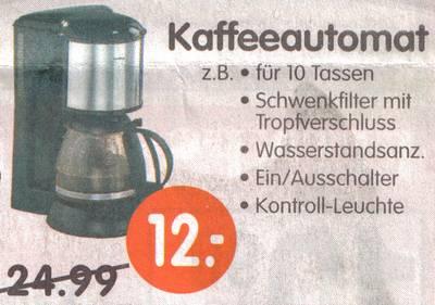 Kaffeeautomat für 10 Tassen, Schwenkfilter mit Tropfverschluss, Wasserstandsanzeige, Ein/Ausschalter, Kontrollleuchte für nur noch 12 Euro