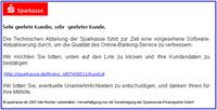 Phishing bei Sparkassen-Kunden, ein Beispiel des ganz normalen Wahnsinns im heutigen Internet