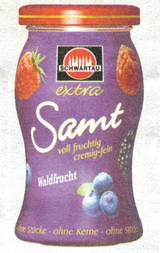 Schwartau: Extra Samt, voll fruchtig cremig-fein Waldfrucht ohne Stücke ohne Kerne