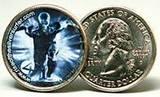 Eine offizielle 25-Cent-Münze (Quarter) der USA mit Reklame