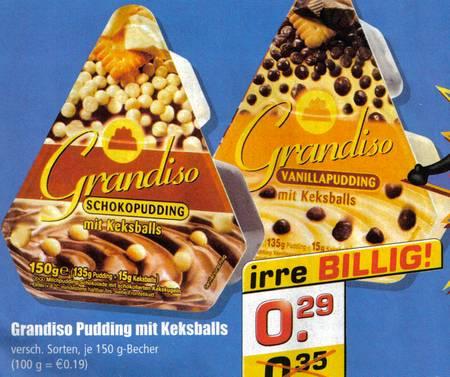 Aus einer Plus-Werbung: Grandiso Pudding mit Keksballs