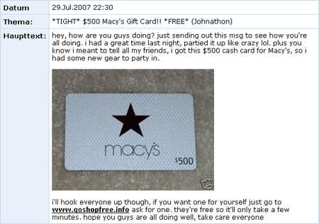 Ein Beispiel für ein Spam-Bulletin auf MySpace, das mit Hilfe eines gephisten Accounts erstellt wurde