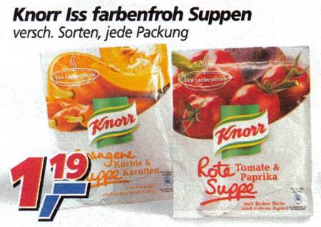 Knorr Iss farbenfroh Suppen - versch. Sorten, jede Packung 1,19