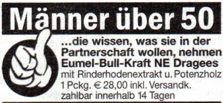 Männer über 50 - ...die wissen, was sie in der Partnerschaft wollen, nehmen Eumel-Bull-Kraft NE Dragees mit Rinderhodenextrakt und Potenzholz