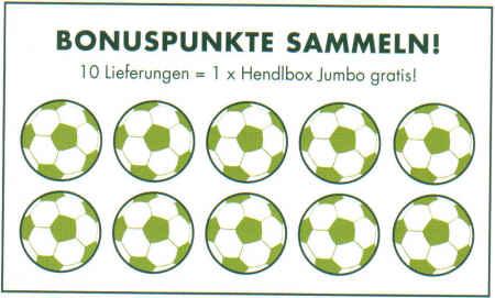 Bonuspunkte sammeln! - 10 Lieferungen = 1 x Hendlbox Jumbo gratis! - (10 stilisierte Bilder von Fußbällen)