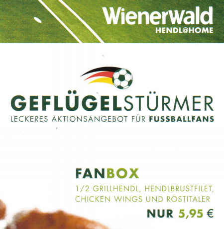 Wienerwald - Hendl@Home - Geflügelstürmer - Leckeres Aktionsangebot für Fußballfans - Fanbox - 1/2 Grillhendl, Hendlbrustfilet, Chicken Wings und Röstitaler - Nur 5,95 Euro