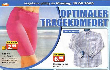 Optimaler Tragekomfort - Radler oder Capri - hoher Baumwollgehalt - Gr. 36 bis 50 - versch. Farben - Aktion, je 2,99 EUR
