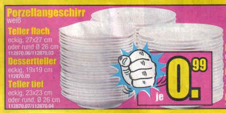 Porzellangeschirr weiß, Teller flach, Dessertteller, Teller tief, je 0,99