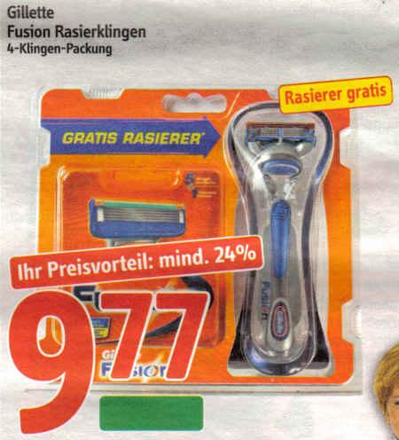 Gillette Fusion Rasierklingen, 4-Klingen-Packung - Rasierer gratis - GRATIS RASIERER - Ihr Preisvorteil: mind. 24 % - 9,77