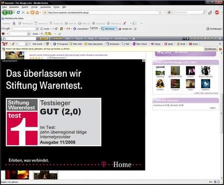 Jamendo-Website, Albenansicht, großes Layer-Ad für T-Home mit dem Text: Das überlassen wir Stiftung Warentest