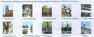 2. Was ist Ihrer Meinung nach die bedeutendste Sehenswürdigkeit in Hannover? (Bitte nur ein Kreuz!) - Marktkirche, Neues Rathaus, Landesmuseum, Nanas am Leineufer, AWD-Arena, Zoo Hannoer, Herrenhäuser Gärten, Eilenriede, Maschsee, Messe