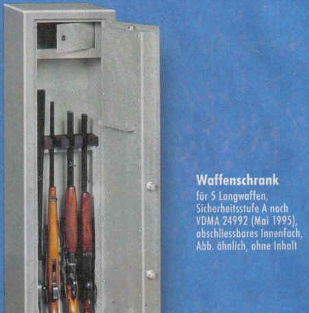 Waffenschrank für 5 Langwaffen, Sicherheitsstufe A nach VDMA 24992 (Mai 1995), abschliessbares Innenfach, Abb. ähnlich, ohne Inhalt