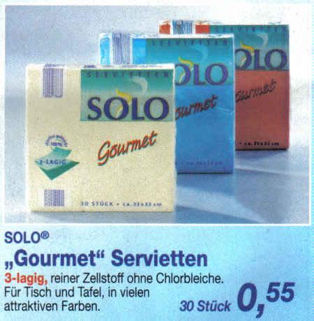 SOLO (R) Gourmet Servietten - 3-lagig, reiner Zellstoff ohne Chlorbleiche. Für Tisch und Tafel, in vielen attraktiven Farben. 30 Stück 0,55