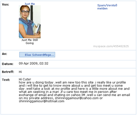 MySpace-Spamnachricht...