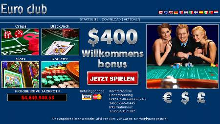 400 Dollar Bonus bei Euro Club