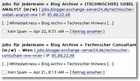 Spam-Trackbacks von Jobs für Jedermann - Technischer Siebel-Analyst, Technischer Consultant