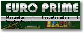 Detail der Navigation der Website des Betrugs-Casinos Euro Prime mit stümperhaftem Darstellungsfehler, der die Lesbarkeit und Navigierbarkeit stark beeinträchtigt