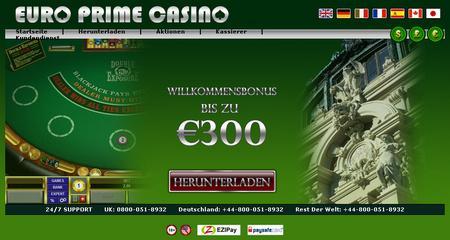 Screenshot der gegenwärtigen Website des Betrugs-Casinos Euro Prime Casino