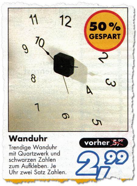 Wanduhr - Trendige Wanduhr mit Quartzwerk und schwarzen Zahlen zum Aufkleben. Je Uhr zwei Satz Zahlen. Vorher 5,99 Euro, jetzt 2,99 Euro - 50 % GESPART