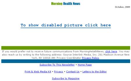 Morning Health News - To show disabled picture click here