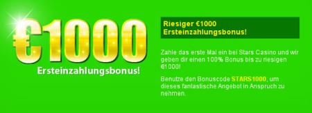 Der Bonuscode lautet STARS1000