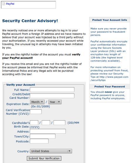 Screenshot des dummen Anhanges für das Phishing