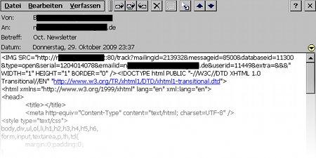Ein Beispiel für ein Webbug in einer HTML-Mail