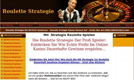 Die mit so dummen SEO beworbene Website empfiehlt Roulette-Spielen in Online-Casinos
