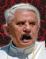 Ein stark bearbeitetes Bild von Papst Benedikt XVI