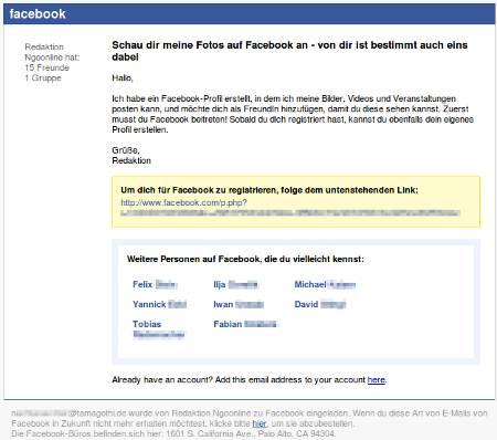 Screenshot einer ganz normalen Spam, wie sie in Massen von Facebook versendet wird, um Leute zu Anwendern einer kommerziellen Website zu machen
