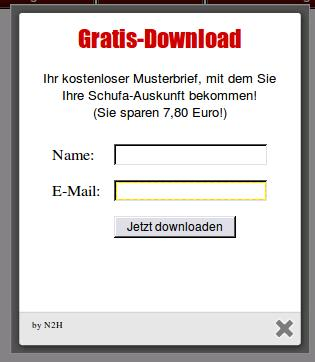 Gratis-Download -- Ihr kostenloser Musterbrief, mit dem Sie Schufa-Auskunft bekommen. -- Name [Eingabefeld] E-Mail [Eingabefeld] Jetzt downloaden [Schaltfläche]