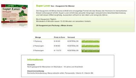 Screenshot der mit krimineller und asozialer Spam beworbenen Website fragwürdiger Anbieter