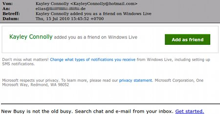 Kayley Conolli added you as a friend on Windows Live -- Add as friend ...