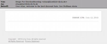 Screenshot der HTML-formatierten Mail ohne Inhalt