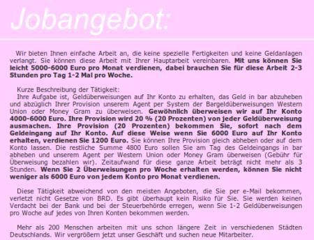 Screenshot der Spam mit dem Jobangebot