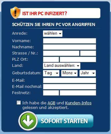 Detail aus dem Screenshot mit der verpflichtenden Eingabe vollständiger Adressdaten für den Download des so schreiend angebotenen Schutzes