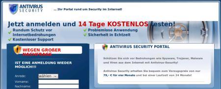 Startseite des fragwürdigen Anbieters dieses recht teuren Schutzes für Windows-PCs