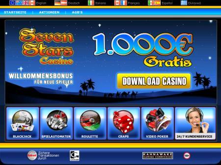 Screenshot des angeblichen Seven Stars Casino