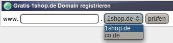 Gratis 1shop.de Domain registrieren -- unter anderem wird co.de angeboten
