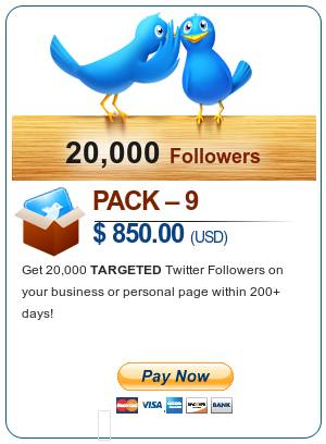 Pack 1 - $850 - Get 20000 TARGETED Twitter Follower on your business or personal page within 6-10 days - Pay Now
