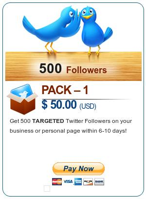 Pack 1 - $50 - Get 500 TARGETED Twitter Follower on your business or personal page within 6-10 days - Pay Now