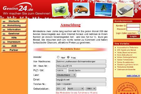 gewinn24.de -- die Website eines schon recht bekannten Nutzlosdienst-Abzockers