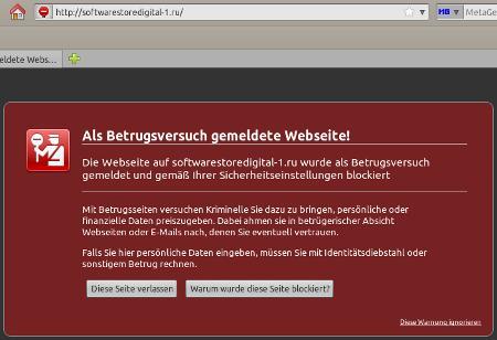 Als Betrugsversuch gemeldete Website