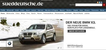 Screenshot des nervigen BWM-Ads auf der Homepage der Süddeutschen Zeitung