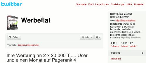 Screenshot des Twitter-Spammers 'werbeflat'