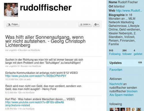 Screenshot der Timeline eines Twitter-Spammers mit eingestreuten Zitaten aus einer Zitatdatenbank