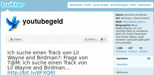 Screenshot youtubegeld von der Twitter-Website