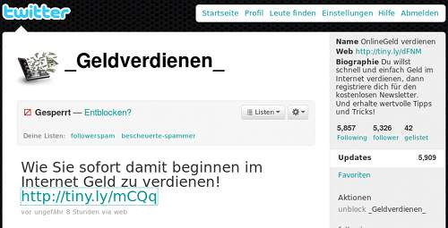 Screenshot des Twitter-Spammers _Geldverdienen_
