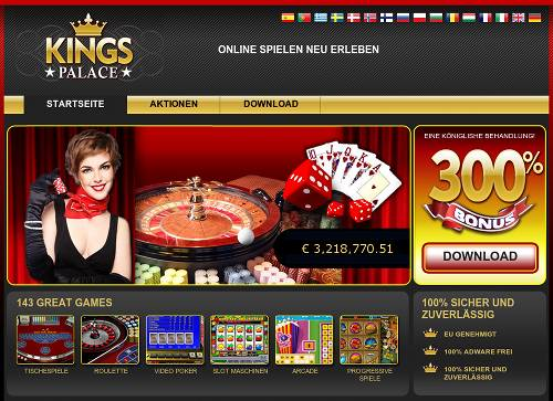 Screenshot der angeblichen Casino-Homepage Kings Palace